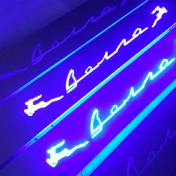 Зеркальные накладки на пороги с подсветкой ГАЗ Волга+